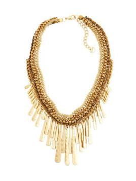 Golden Beaded Bib Statement Necklace