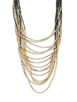 Layered Multi-Strand Necklace/Goldtone - Gold - Black - Size No Size
