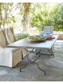 Camille Outdoor Dining Table, Silver - Neiman Marcus