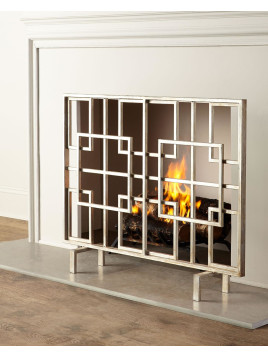 Dominic Fireplace Screen, Antique Silver - Neiman Marcus