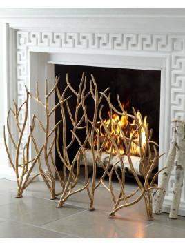 Golden Branch Fireplace Screen, Gold - Neiman Marcus