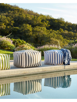 Graphite Gray/White Indoor/Outdoor Beanbag Pouf, Grey/White - Neiman Marcus