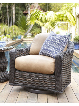 Madison Dark Outdoor Swivel Glider Lounge Chair, Brown - Neiman Marcus