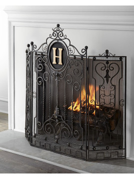 Personalized Fireplace Screen, Gold - Neiman Marcus