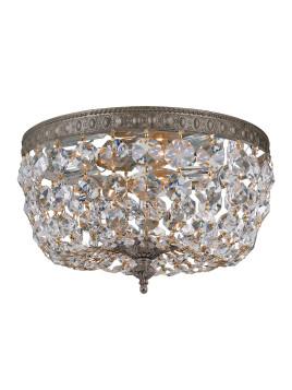 Prism Crystal 2-Light Flush-Mount Ceiling Fixture, Bronze - Neiman Marcus