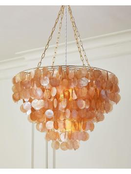 Rosalea 2-Light Capiz Shell Chandelier, Pink - Neiman Marcus