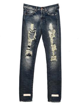 Jeans denim effetto destroyed