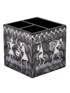 Gray Mdf Wood Tribal Hand Painted Pen Holder