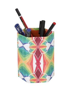 Yellow Cardboard Paper Abstract Screen Printed Pen Holder