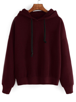 Drawstring Loose Fitted Long Sleeve Hoodie