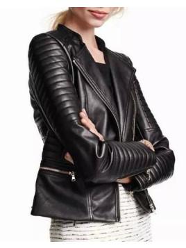 Punk Black Skew Zippered Seamed Faux Leather Jacket