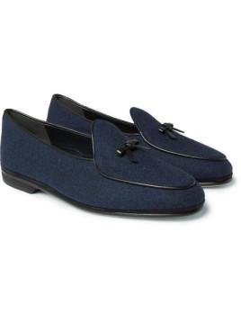 Marphy Leather-trimmed Flannel Loafers - Navy