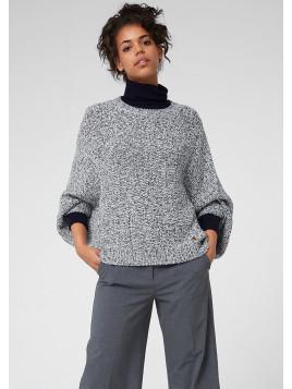Melierter Fledermaus-Pullover, blau