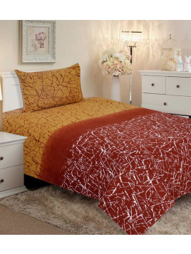 Rust Cotton Single Bedsheet With One Pillow Cover