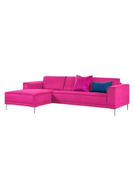 Ecksofa Grapefield - Webstoff - Longchair/Ottomane davorstehend links - Pink, Says Who