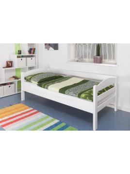 Einzelbett Easy Sleep K1/n/s, Buche Vollholz massiv weiß lackiert - Maße: 90 x 190 cm