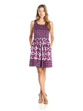 Womens Sleeveless Multi Print Fit and Flare Dress