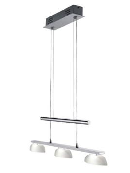 LED-Pendellampe, TRIO LEUCHTEN, silberfarben, 3-flg. - Länge ca. 70 cm, EEK A+