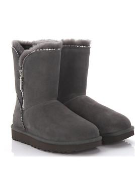 Stiefeletten Boots Florence Veloursleder grau Lammfell