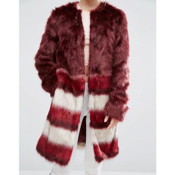 Manteau en fausse fourrure avec bordures rayées - Rouge