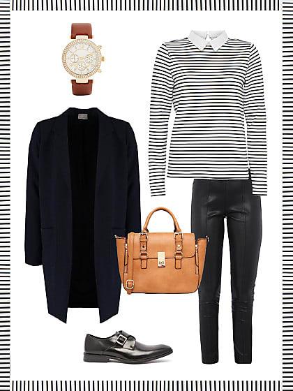 business look mit lederhose dein b ro outfit f r morgen stylight. Black Bedroom Furniture Sets. Home Design Ideas