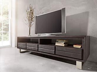 DELIFE Lowboard Live Edge 190 Cm Akazie Tabak 4 Schübe, Fernsehtische,  Baumkantenmöbel,