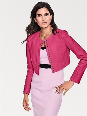 Damen Leder-Jacke Lammnappa Bolero, pink Ashley Brooke by Heine