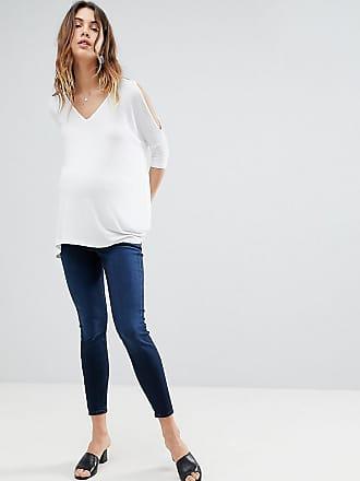 Asos Maternity Vaqueros ajustados de tiro alto en lavado azul brillante con banda por debajo de la barriga de ASOS DESIGN Maternity 4MJ2J
