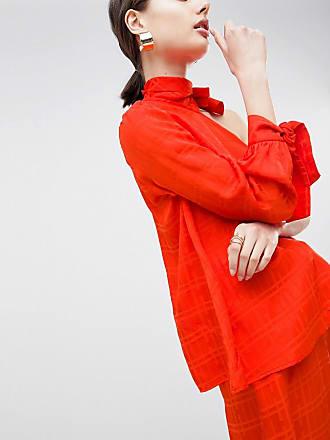 Gestreiftes Oberteil mit verdrehtem Ausschnitt - Rot Asos