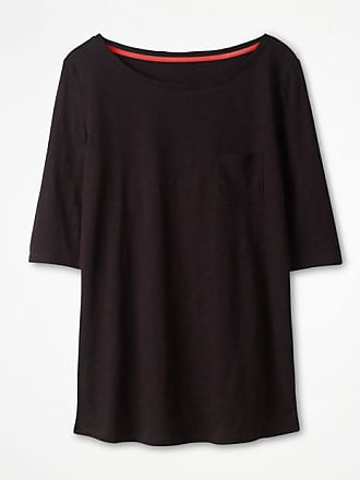Basic-T-Shirt mit U-Boot-Ausschnitt Black Damen Boden Boden