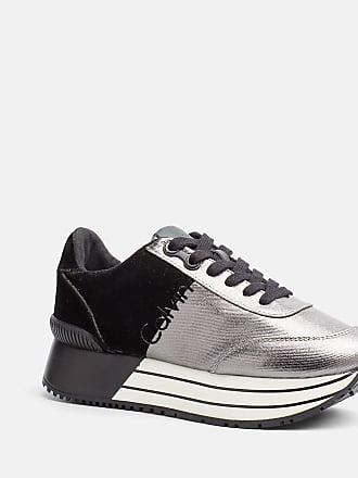 Carlita Metal Canvas/Flocking, Zapatillas para Mujer, Varios Colores (Pewter/Black), 39 EU Calvin Klein