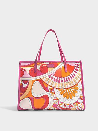 Emilio Pucci Sac Big Case Capri en Nylon Imprimé Orange 0NUaC
