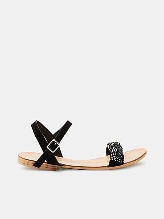 Esprit Flache Sandale mit Leder-Riemchen und Glitter für Damen, Größe 36, Black