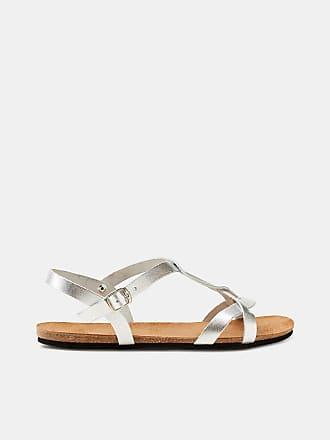 Esprit Flache Sandale mit Leder-Riemen und Leder-Sohle für Damen, Größe 39, Black