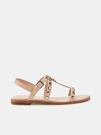 Esprit Flache Sandale in Leder-Optik für Damen, Größe 39, Nude