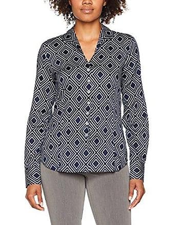Damen Bluse Comfort Fit Langarm Marine Bedruckt mit Kelch-Kragen Eterna