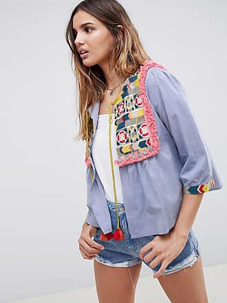 Bed - Chambray-Jacke mit besticktem Einsatz und Quastenschnürung - Blau Glamorous