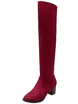 MEI&S Frauen Stickerei Nude Schuh Stiefel nationalen Stil rauhe Ferse hohe Zylinder mit Fransen, rot, 46