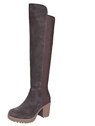 Damen Schuhe, B2892-HB, Stiefel, Overknee Wildleder, Wildleder und Synthetik, Braun, Gr 36 Ital-Design