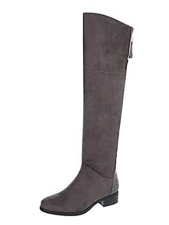 Overknees Damen-Schuhe Overknees Blockabsatz Blockabsatz Reißverschluss Stiefel Grau Braun, Gr 39, B22H-Hb Ital-Design