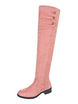 Ital-Design Overknees Damen-Schuhe Overknees Blockabsatz Blockabsatz Reißverschluss Stiefel Weinrot, Gr 37, 3498-