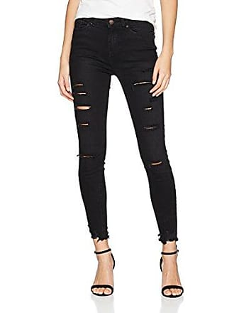 Damen Skinny Jeans Schwarz Rip New Look
