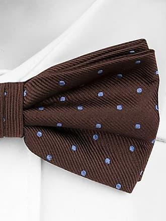 Self tie bow tie from Tieroom, Notch ARAM, brown base, lightblue dots Notch