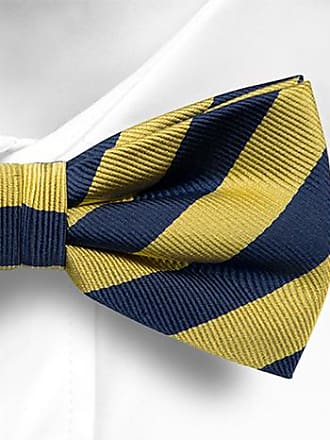 Bow tie pre tied from Tieroom, Notch VERNON has yellow base & stripes in black Notch