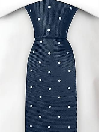 Cravate Mince - Twill Bleu Barbeau, Petits Pois Blancs Encoche