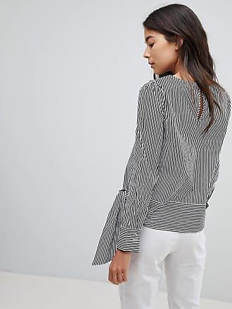 Gestreifte Bluse mit Taillenband - Grau Oasis