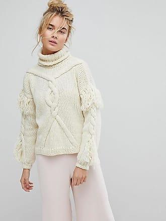 OneOn - Handgestrickter Pullover mit Zopfmuster und Zierquasten - Cremeweiß Oneon