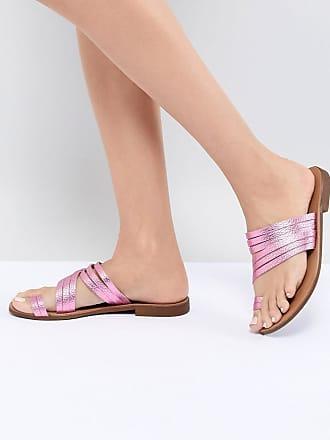 Günstig Kaufen Vermarktbare Empfehlen Online Flache Ledersandale aus mit Metallic-Riemchen - Rosa Pieces Billig Verkaufen Mode EhFnarpYGi