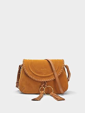 Hana small Crossbody Tasche aus Zement beige gekörntem Ziegenleder See By Chloé U502Mv2ix