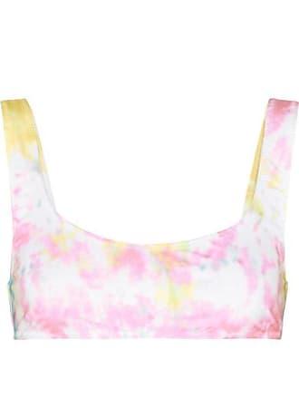 + Re/done The Elle Bikini-oberteil Mit Batikmuster - Pastellrosa Solid & Striped